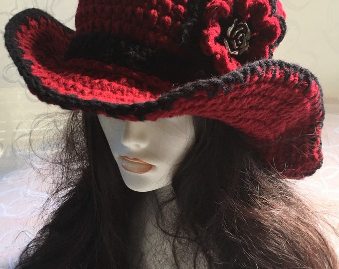 Women's Crocheted Sunhat-Cowboy Hat-Women's accessories -Western Wear-Red and Blach-Flowers-Roses-