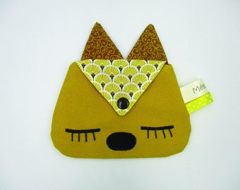Cat purse, cotton fabric, yellow brown, snap pocket, size 13.5 9.5 cm