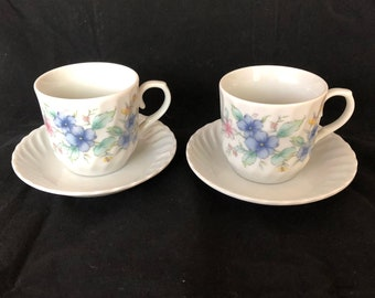 Set of Two Demitasse Coffee Cups and Saucers Made in Japan