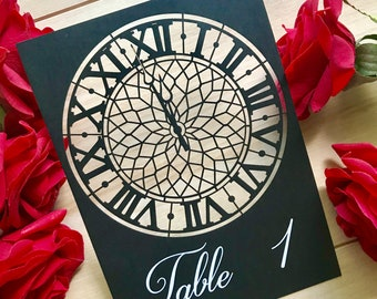 Cinderella Table Numbers inspired laser cut clock with easels included