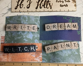 Five Letter Scrabble Tile Hair Barrettes! Custom requests welcome!