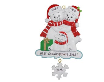 Grandparents Personalized Ornament with 1 Grandchild - Best Grandparents Ever Personalized Ornament