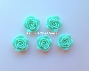 Mint Resin Rose Flower Beads, NEW Style! 20mm Rose Beads, 20mm Flower Beads, Mini Flower Beads, Chunky Beads, Acrylic Beads