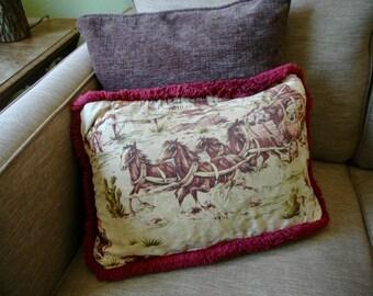 "Vintage Barkcloth Pillow Sham - ""Rock N' Rolling Stagecoach"""