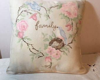 "Pillow  hand painted - Watercolor look - ""family"""