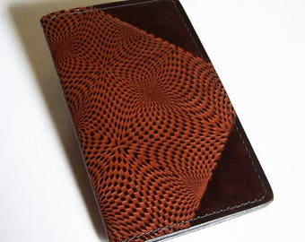 Leather Checkbook Cover with Op-Art Kaleidoscope Pattern - Checkbook Holder