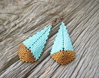Large Turquoise and Bronze Teardrop Earrings, Asymmetrical, Stitched by hand,