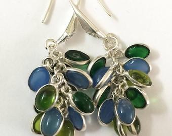 Handcrafted Dangle Earrings: Clusters of Gemstones--Amethyst, Citrine, Chalcedony, Peridot, Onyx, Topaz
