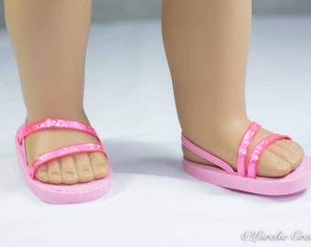 "18 inch doll Ballerina princess party SANDALS SHOES Flip flops  Double ""Fan"" Straps in PINK Sparkle for dolls like American Girl"