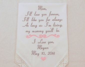 Wedding gift for Mom from the Bride Embroidered Handkerchief personalized Hankerchief for parent mother of the bride Hanky Napa Embroidery