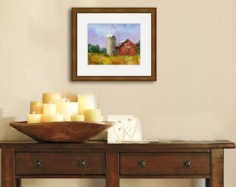Landscape Painting | Max Yasgurs Farm | woodstock memorabilia |  watercolor print of Woodstock | red barn art | PRINT | country decor