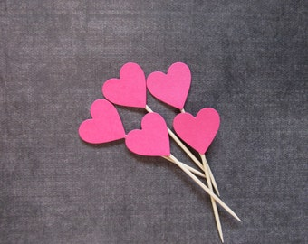 Valentine's Day Decor, 24 Fuchsia Pink Heart Cupcake Toppers, Food Picks, Party Decor, Weddings, Showers, Birthdays, Sweet 16