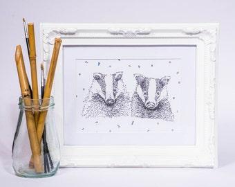 Companion Love Badgers // Illustrated Print // A5 - 5x8 // A4 - 8x10