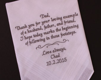 father Handkerchief, Dad Gift from groom, Father of the Groom wedding hanky, loving example of a husband. Wedding Favor, Gift, Grey, MS1F23