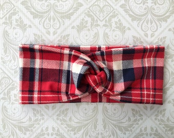 Patriotic Plaid Turban Headband // Red // White // Blue