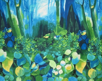 Magical Blue and Green Deep Forest with Birds Border Print Pure Cotton Fabric--By the Yard