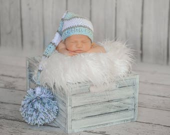 Long Tail Hat, Elf Hat, Baby Boy Hat, Crochet Baby Hat, Blue White Grey, Baby Newborn Hat, Photo Prop, Newborn Baby Hat, Crochet Newborn Hat
