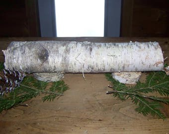 Birch Yule Log Candle Holder Design Your Own (J)