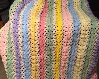 Pastel crochet afghan