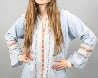 Guatemalan Embroidered Ethnic Shirt 70s Hippie Tunic Blouse Boho Chambray Blue Cotton Bohemian Top Extra Small - Medium