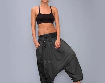 Grey Harem Pants , Aladdin pants , Drop-Crotch Pants, boho harem pants, Festival pants, Women Harem Pants, Alibaba pants