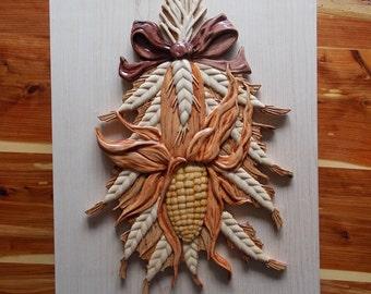 Sweet Corn Wall Applique, Kitchen Corn Decor, Rustic Kitchen Wall Art, Farm Corn Harvest, Corn Wall Art, Wood Wall Art Decor, Wood Carving