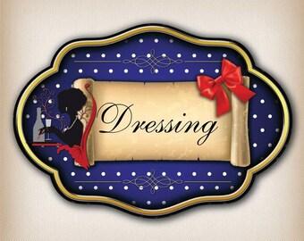 Sticker plaque de porte vintage dressing à pois 008