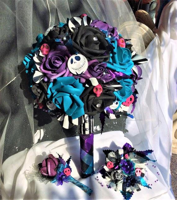 Nightmare before christmas wedding bridal flowers brides like this item junglespirit Choice Image