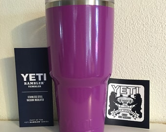 30oz Yeti Stainless Rambler tumbler/Cup Powder Coated FUCHSIA. BPA Free.  Many sizes and prices vary.