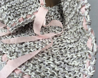 Hand Knitted Scarf, Precious Silver Spring Summer Cowl Wearable Art