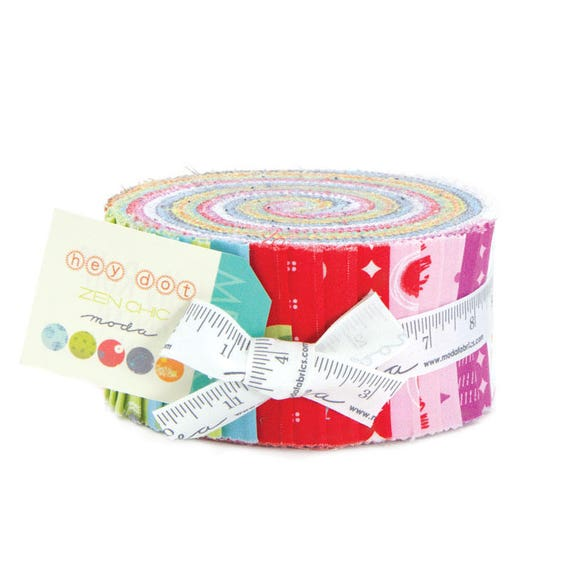 Hey Dot Jelly Roll of 40 Fabrics by Designer Zen Chic A Collection From Moda 1600JR