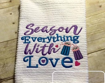 Season Everything with Love saying Embroidery Design - kitchen embroidery design - saying embroidery design - Cooking embroidery design