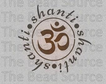 Om Shanti, Word Stencil, Yoga Mandala Stencil, Shanti, Mylar Stencil, Om Stencil, Sanskrit Ohm, Hindu, reusable painting stencil, pochoir
