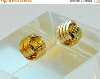 SUMMER SALE Vintage Gold Knot Earrings, Double Circles Geometric Earrings, Gold Tone Post Earrings, FREE Shipping