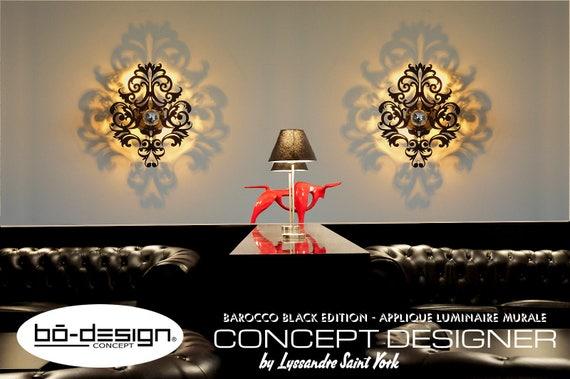 luminaire baroque 30 / 35 cm noir brillant modele