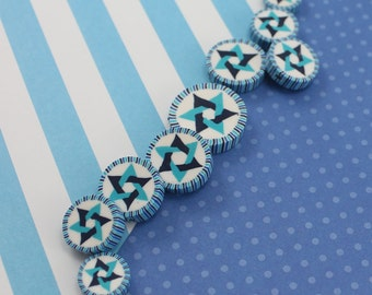 Star of David beads, DIY bracelet unique gift, DIY necklace elegant gift, handmade polymer clay beads, Jewish evil eye round beads, 9 pcs