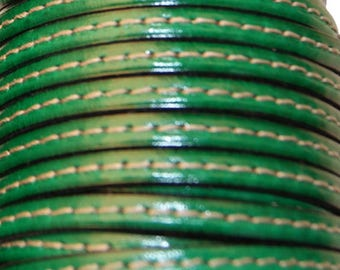 20 cm Leather Strip 5 mm flat green with stitching