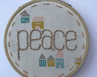 Embroidery hoop ornament - embroidered ornament - peace ornament - tree decoration - tree ornament - fabric ornament