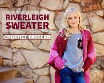 Riverleigh Sweater PATTERN | Crochet Cardigan Pattern | Crochet Shrug Pattern | Sweater Pattern | Shrug Pattern | Instant Download Pattern