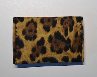 Business Card Wallet, Card Case, Credit Card Wallet, Small Wallet, Cheetah Print Fabric, Pocket Purse, Gift Card Wallet, ID Case