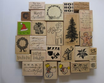 rubber stamp -YOUR CHOICE - Christmas stamp - used rubber stamps