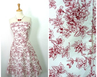 Vintage Cotton Dress, White and red, Sweetheart Strapless Floral Toile Summer Dress Size 5 Small