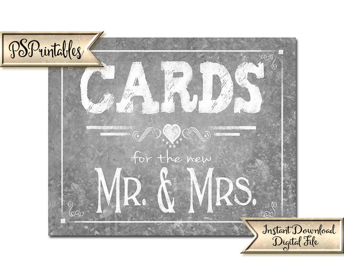 Galvanized Wedding Cards Sign | PRINTABLE Wedding sign, Cards for the new Mr & Mrs, Galvanized printables, Country wedding decor, DIY Sign