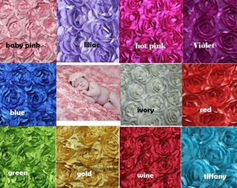 3D Rose Rosette Backdrop Blanket Fabric Satin Baby Newborn Wedding Photo Prop 95x140cm