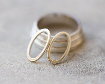 Oval sterling silver stud earrings - minimal, simple every day earrings