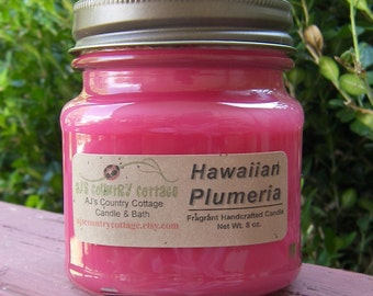 HAWAIIAN PLUMERIA CANDLE - Floral Candles, Flower Candles, Tropical Candles, Lei Flower Candles, Strong Candles, Spring Summer Candles