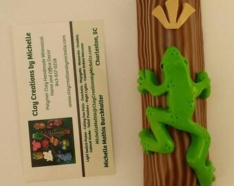 Tree Frog on Wood Mezuzah Case