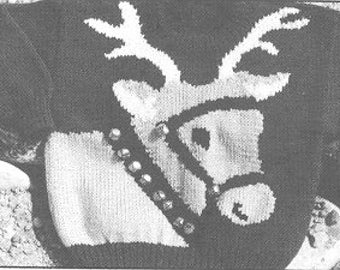 eweCanknit Pattern 062  Reindeer sweater pattern shild's sizes 2-8 uses worsted weight yarn