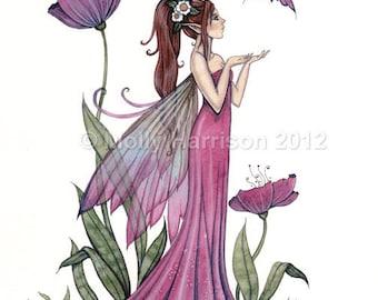 Amethyst Purple Poppy Fairy Fantasy Original Fine Art Giclee Print by Molly Harrison 8 x 10