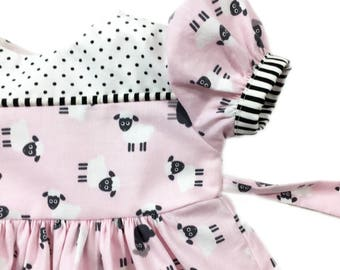 Newborn to 3 month baby girl sheep print dress, infant dress, baby gift, special occasion dress for baby, pink dress, boutique dress